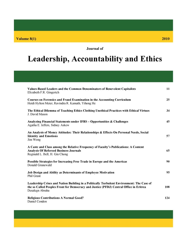 Journal of Leadership, Accountability and Ethics